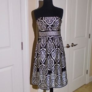 WHBM Printed Strapless Silk Party Dress 4